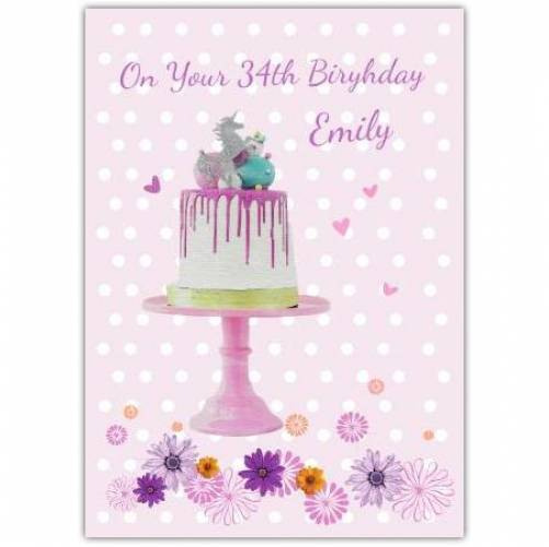 Happy Birthday Pink Unicorn Cake  Card